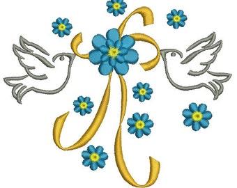 wedding doves - Machine Embroidery Design - three sizes