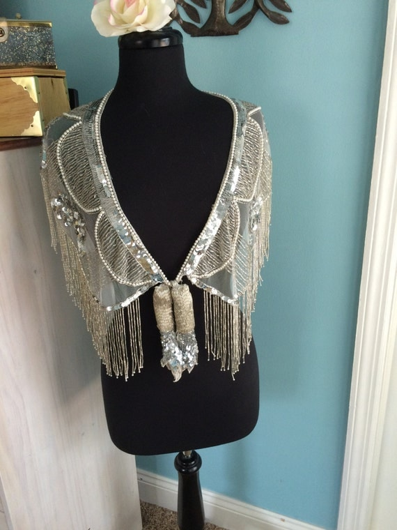 silver sequin and beaded shawl