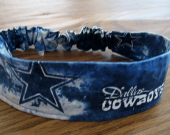 NFL- Dallas Cowboys Headband-Fabric#2 Blue & White/Lined  Shipping Included