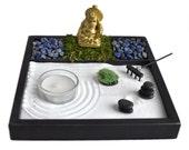 Mini Zen Garden // Laughing Buddha Statue // Incense Burner // Lapis Lazuli // Tealight Candle Holder // Meditation // Zen Garden Kit