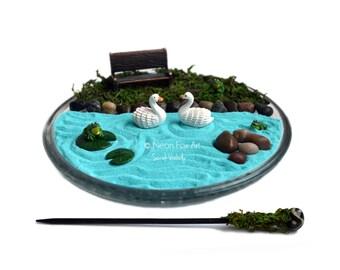 Mini zen garden laughing buddha statue desk accessory - Japanese sand garden mini ...