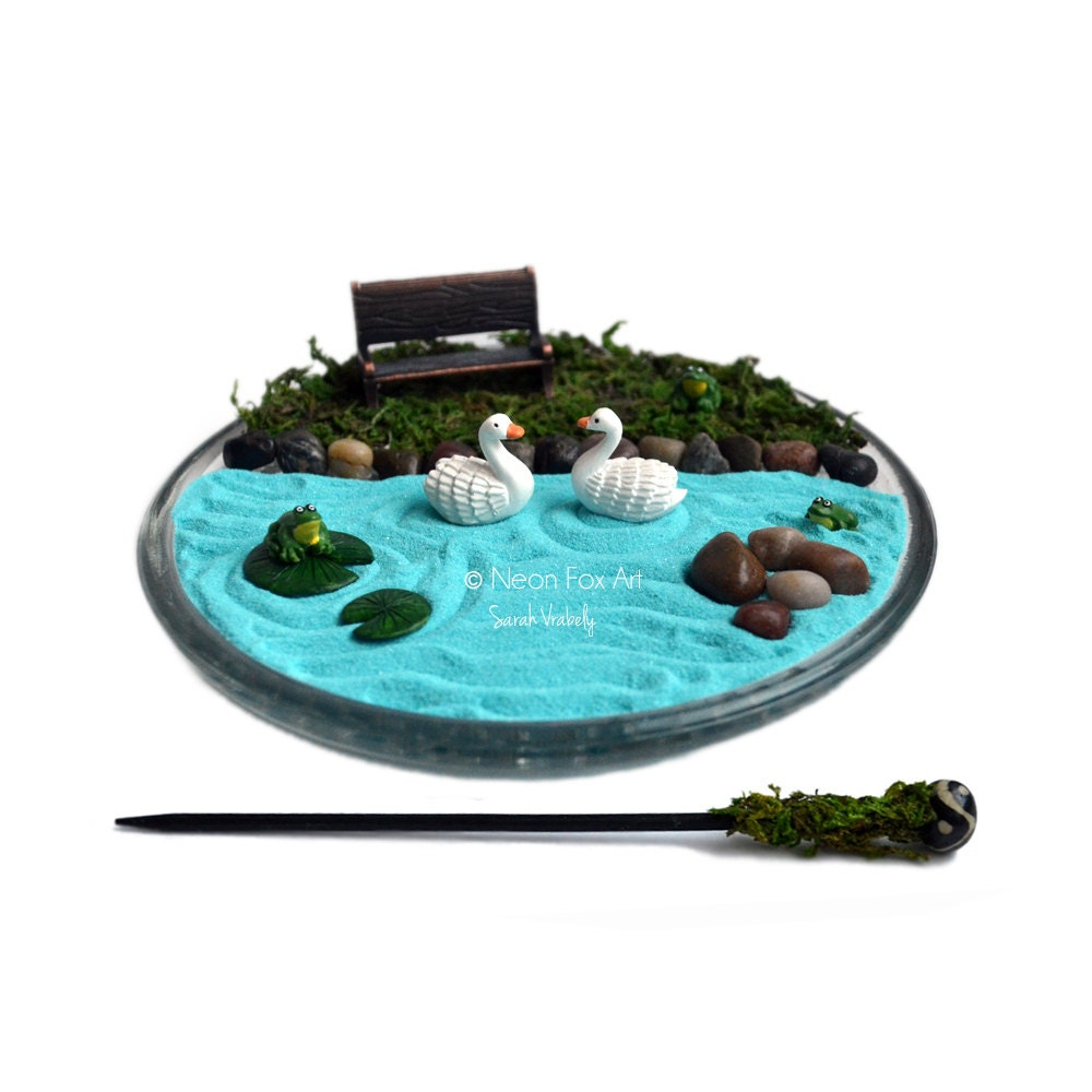 Mini zen garden miniature pond desk accessory diy zen for Jardin zen miniature