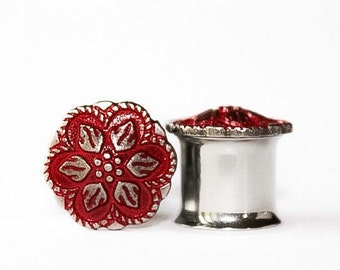 Clearance: Vibrant Red Flower Plugs, gauges  0g, 00g, 7/16, 1/2, 9/16