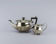 2 Vintage Classical Gadrooned Silver Plated TEA SET Gift Art Deco Large Mappin And Webb English 1930s LS