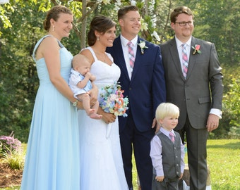 Men's skinny Pink and blue plaid tie   Wedding Ties  Necktie for Men FREE GIFT