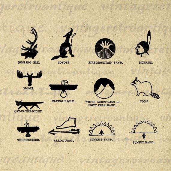 Printable Native American Indian Symbols Digital Download Graphic Image Antique Clip Art Jpg Png Eps  HQ 300dpi No.1012