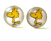 Snoopy Cufflinks Woodstock Charlie Brown glass dome Cufflinks Men's accessories Peanuts Characters Glass Dome Handmade men's jewelry