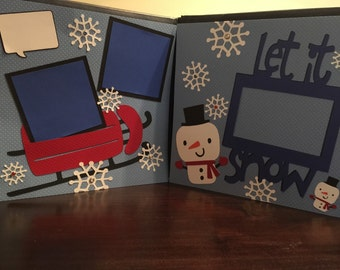 Let it Snow with Sled Pre Made 12 x 12 Double Page Layout