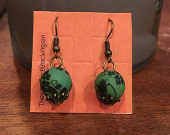 Forest Green Flowers Clay Bead Earrings