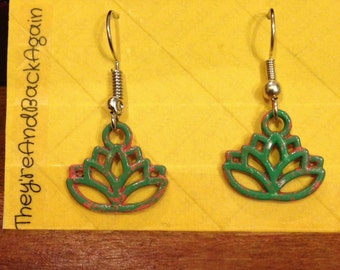 Green&Pink Lotus Earrings