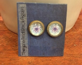 8mm Glass Blue Kaleidoscope Stud Earrings