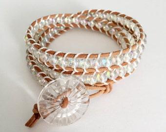 Glass Leather Wrap Bracelet