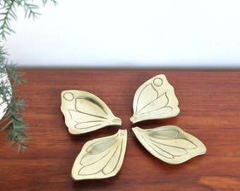 Brass ashtray, butterfly wings, 1960s