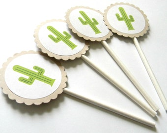 12 Cactus Cupcake Toppers, Birthday Party, Baby Shower, Mardi Gras, Fiesta First Birthday, Cake Toppers, Fiesta Shower, Fiesta Theme