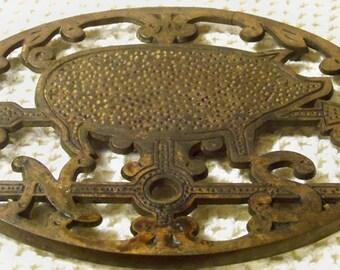 Large Cast Iron Pig Trivet