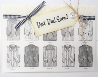Handmade Mens Card, Mens Birthday Card, Vintage Style Mens Card, Mens Shirts, Vintage Mens Card, Masculine Card, Card for Dad, Dad Birthday