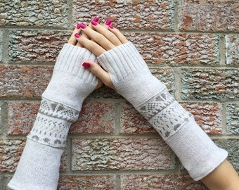 Beige Pattern Fingerless Gloves, Cotton Arm Warmers, made from a nordic pattern cotton blended sweaters