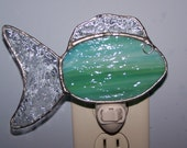 Stained glass nightlight - fish, sea foam green, yellow, aqua glass, ocean, shore, beach, seashore, housewarming gift, bathroom decor