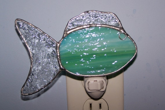 Stained glass nightlight fish sea foam green yellow aqua for Sea green bathroom accessories