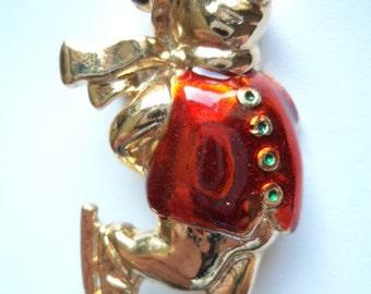 Vintage Unsigned Goldtone Skating Snowman Brooch/Pin