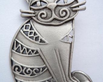 Vintage Signed JJ Silver pewter Smiling Openwork Cat Brooch/Pin