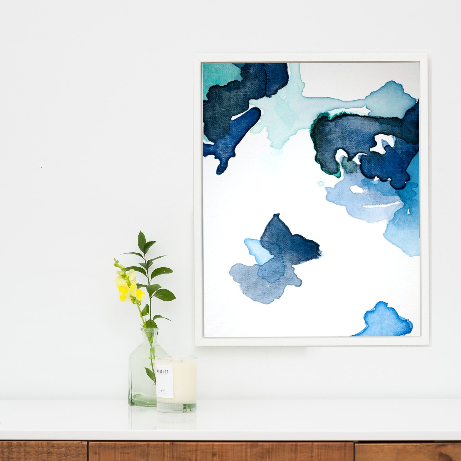 Large abstract art print navy blue abstract canvas wall for Abstract wall art