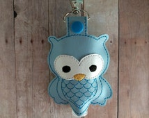 Owl Hand Sanitizer Holder- Light Blue Embroidered Vinyl with Snap, Great for Backpacks, Bags and Purses, Quick Ship, Assorted Colors
