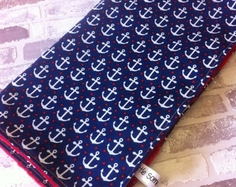 navy nautical anchor baby blanket custom made personalised new baby gift, nursery