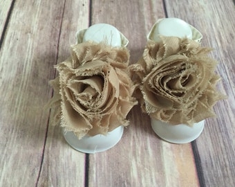 Tan Gold Barefoot Baby Sandals, Chevron Straps, Chiffon Flowers, 0-3 Months