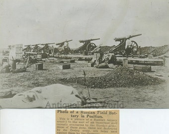 WWI Russia battle field cannons antique photo