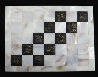 """Antique Early 1900's Rare Unique Handmade Japanese KOMAI Ware And MOP Mother of Pearl BOX With Square Grid Body 5.5""""W x 4.25""""D x 2.25""""H"""