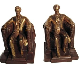 JB Bronze Abraham Lincoln Bookends Circa 1930s Numbered and Signed Jennings Brothers EXCELLENT CONDITION
