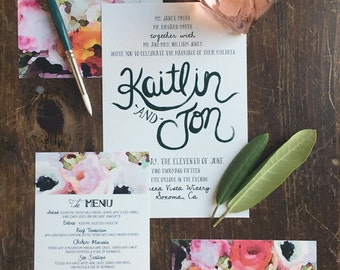 Watercolor Floral: Bright Poppies &  Hand Painted Names