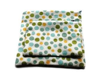 Reusable Zipper Snack Sandwich Bags set of 2 Blue Green Yellow Polka Dots Cotton Twill