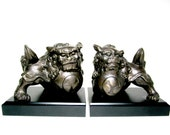 Foo Dog Bookends, Foo Dog Lions Bookends, Asian Bookends, Foo Dog Statues, Vintage Large Heavy Bookends, Asian Decor, Office Decor