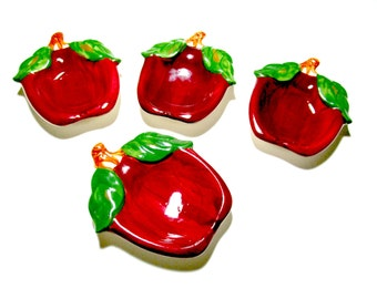 Franciscan Apple Tea Bag Trays, Set of 4, Spoon Rest, Tea Bag Holders, Franciscan Pottery, Apple Kitchen Decor, Farmhouse Kitchen