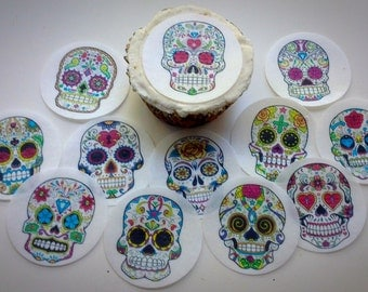12 Day of The Dead Los Muertos sugar skulls edible paper, cupcake cookie topper Decorations PRE CUT