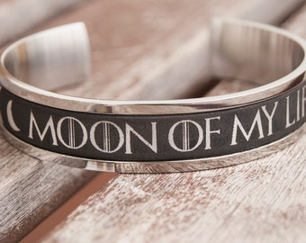Moon of My Life Cuff Game of Thrones Jewelry Stainless Steel Cuff bracelet Khal and Khaleesi Cuff GoT Gift for Her Anniversary Gift Idea