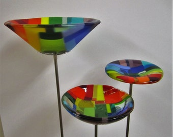 Mosaic Rainbow Fused Glass Trio