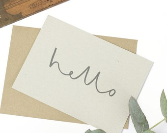 Hello Notecard Set - set of 8 notecards and kraft envelopes