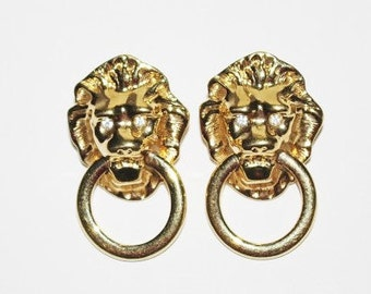 Kenneth Jay Lane Earrings - Lion Head  - S1578