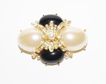 Joan Rivers Pin Brooch Black and White with Crystals - S1276