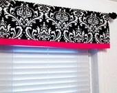 Straight Valance  Black Damask with Hot Pink Border/  Custom Sizing Available!