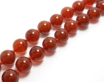 Vintage 10Mm Carnelian Agate Beads 22 Inches