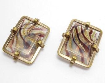 Victorian Venetian Art Glass Cuff Buttons