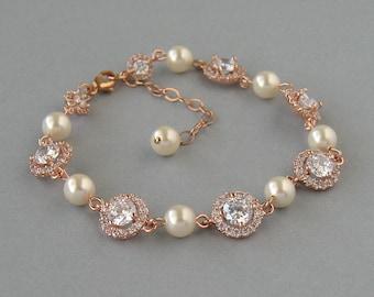 Genuine Swarovski Cream Pearls, Cubic Zirconia,Bracelet with Leaves,Rose Gold Plated, Bridal Bracelet, Bridesmaid Gift,Wedding Jewelry-DK689