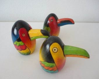 Toucan Figurines - Large - Set of 3 / Tropical / Caribbean / Promotional Items / Rain Forest / Puerto Rico / Costa Rica