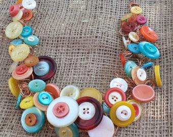 Handmade Button and Wire Necklace