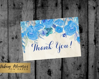 Blue Floral Watercolor Flower Thank You Note, Floral Thank You, Flat Thank You Card, Thank you Note, printable thank you