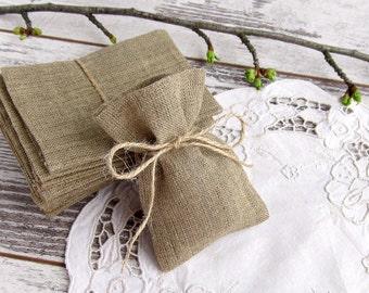 Wedding Burlap Favor Bags, Rustic Gift Bags, Candy Bags - SET OF 10
